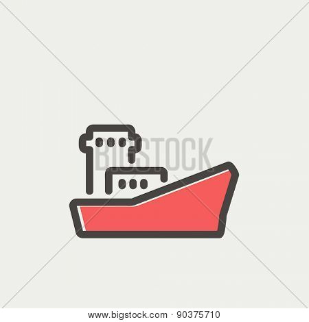 Cargo vessel icon thin line for web and mobile, modern minimalistic flat design. Vector icon with dark grey outline and offset colour on light grey background.