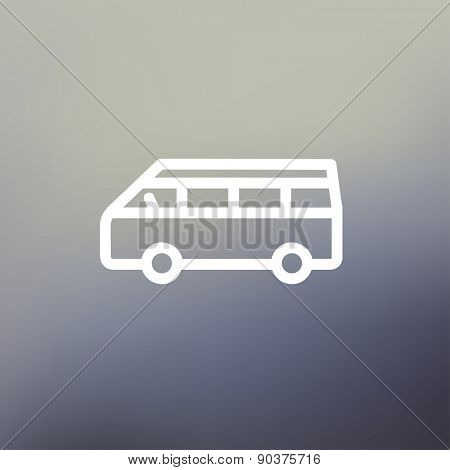 Minibus icon thin line for web and mobile, modern minimalistic flat design. Vector white icon on gradient mesh background.