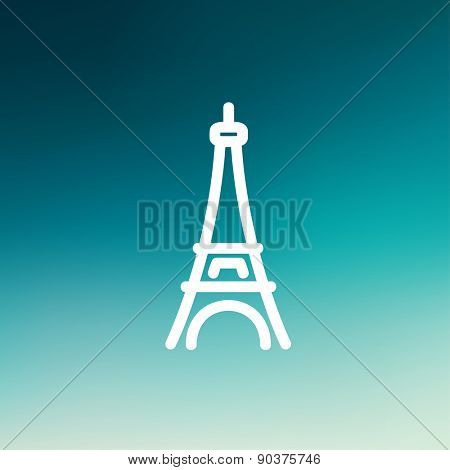 Paris Tower icon thin line for web and mobile, modern minimalistic flat design. Vector white icon on gradient mesh background.