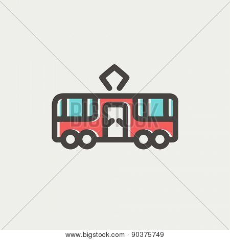 Tourist bus icon thin line for web and mobile, modern minimalistic flat design. Vector icon with dark grey outline and offset colour on light grey background.