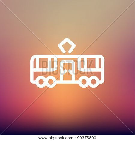 Tourist bus icon thin line for web and mobile, modern minimalistic flat design. Vector white icon on gradient mesh background.