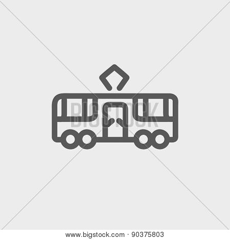 Tourist bus icon thin line for web and mobile, modern minimalistic flat design. Vector dark grey icon on light grey background.