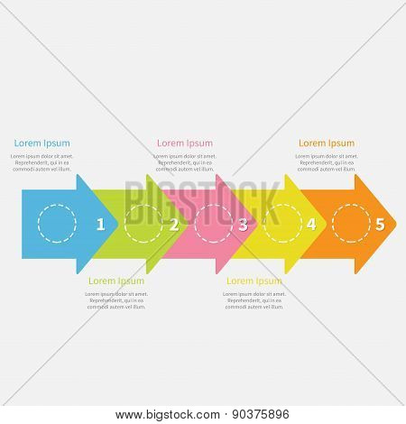 Colorful Arrow Line Five Step Timeline Infographic Circles And Text. Template. Flat Design.