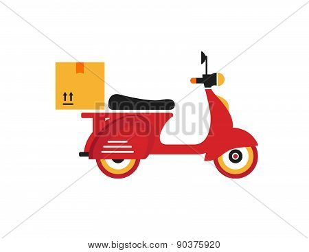 Red Retro Vintage Delivery Motor Bike Icon Isolated On White Background