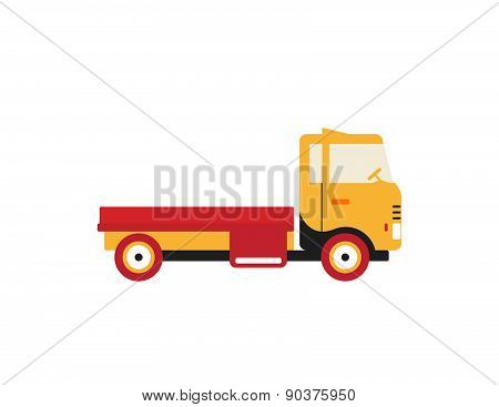 Red Retro Vintage Delivery Truck Icon Isolated On White Background