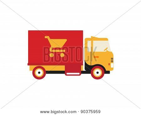 Red Retro Vintage Delivery Truck With Cart Icon Isolated On White Background
