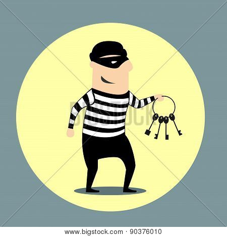Burglar carrying a bunch of keys