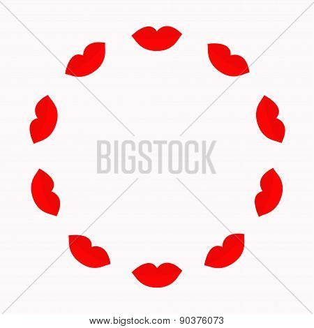Big Full Thick Red Lips Round Frame On White Background. Isolated Flat Design