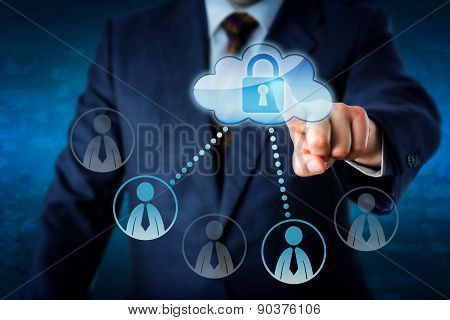 Executive Touching Locked Cloud Linked To Peers