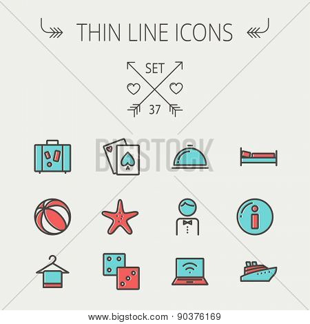 Travel thin line icon set for web and mobile. Set include-luggage, food cover, towel on a hanger, bed, waiter, beach ball, starfish, cruise ship  icons. Modern minimalistic flat design. Vector icon