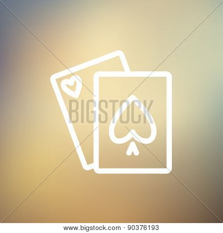 Playing cards icon thin line for web and mobile, modern minimalistic flat design. Vector white icon on gradient mesh background.
