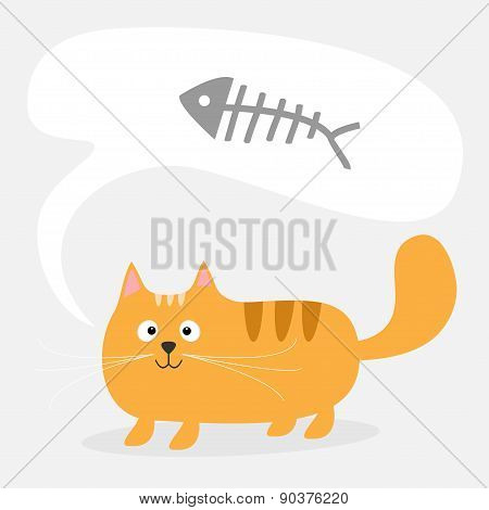 Cute Cartoon Red Cat And Talk Think Bubble With Fish Bone Skeleton. Card. Kids Background Flat Desig