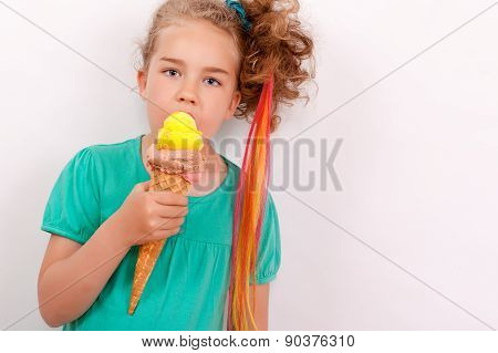 Young girl with giants ice-cream cone