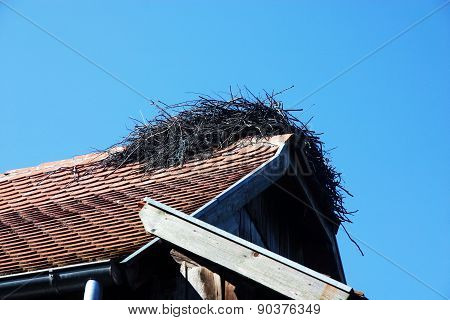 Stork nest on the roof