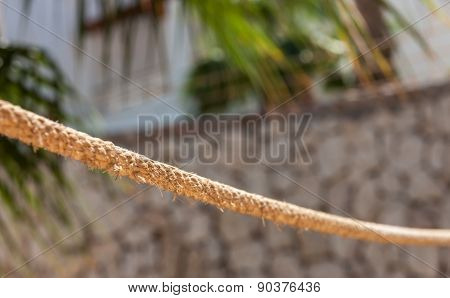 the rope fence of pier in summer vacation time