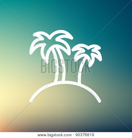 Two palm trees icon thin line for web and mobile, modern minimalistic flat design. Vector white icon on gradient mesh background.