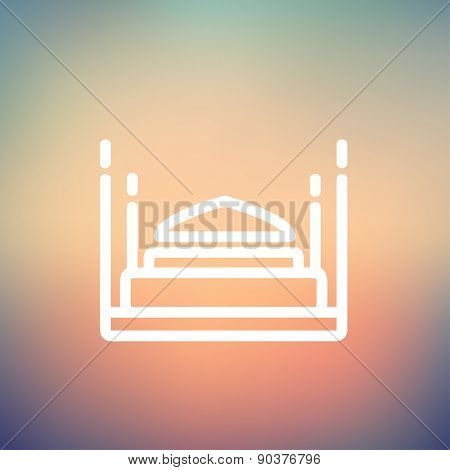 Bed icon thin line for web and mobile, modern minimalistic flat design. Vector white icon on gradient mesh background.