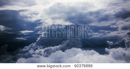 Blue sky and puffy clouds
