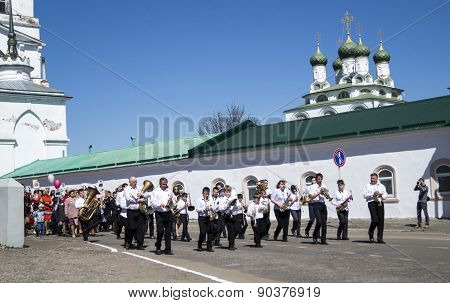 Mstyora,Russia-May 9,2015: Festive Procession In Honour Of Day Of The Victory In City Mstyora,russia