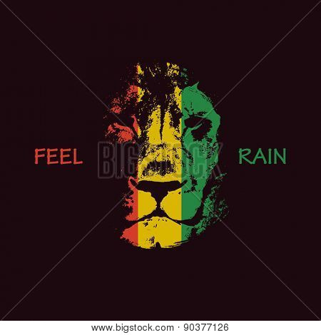 Lion head. Vector background. Poster