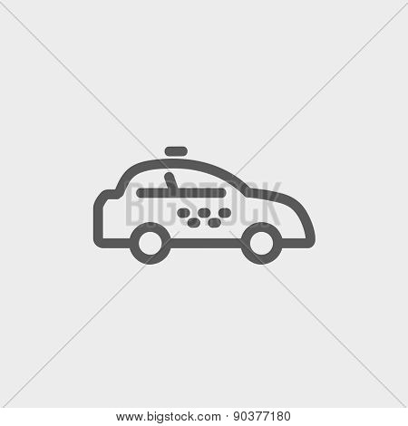 Police car icon thin line for web and mobile, modern minimalistic flat design. Vector dark grey icon on light grey background.