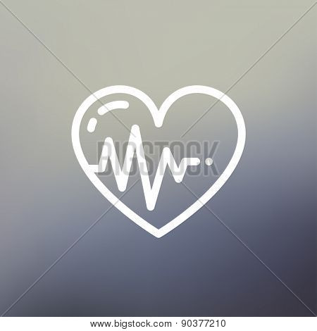 Heart with cardiogram icon thin line for web and mobile, modern minimalistic flat design. Vector white icon on gradient mesh background.
