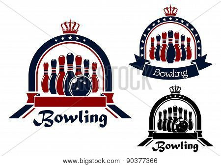 Bowling symbol or emblem in round frame