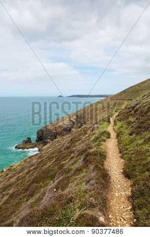 South West Coast Path south of Perranporth North Cornwall England UK