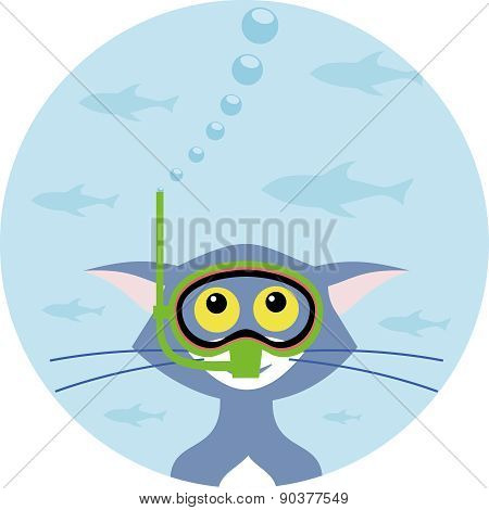 Cat In The Mask For Diving