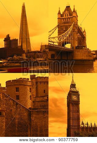 Landmarks in London, sunset sky, postcard