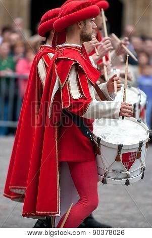 Drummer In Medieval Reenactment Costumes