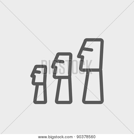 Easter Island Statues icon thin line for web and mobile, modern minimalistic flat design. Vector dark grey icon on light grey background.