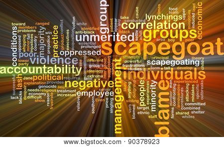 Background concept wordcloud illustration of scapegoat blame glowing light