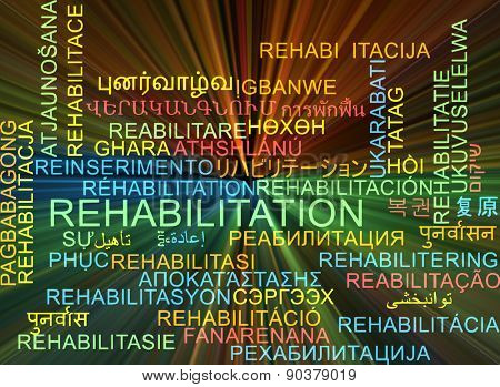 Background concept wordcloud multilanguage international many language illustration of rehabilitation glowing light
