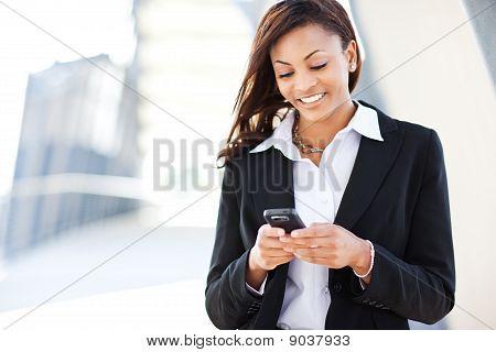 Empresária preto Texting