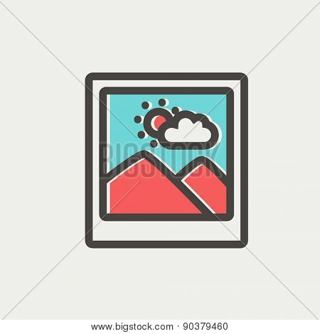Picture with frame icon thin line for web and mobile, modern minimalistic flat design. Vector icon with dark grey outline and offset colour on light grey background.