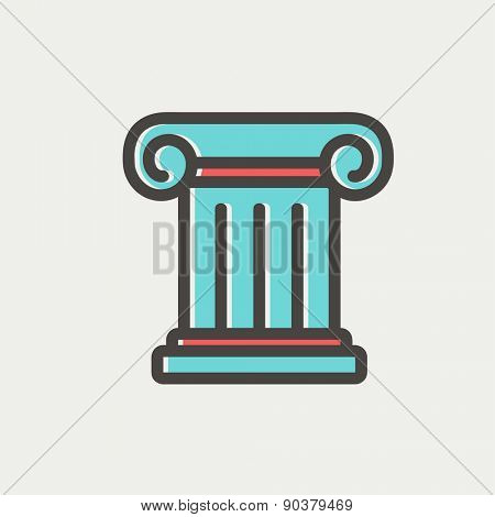 Ancient wall icon thin line for web and mobile, modern minimalistic flat design. Vector icon with dark grey outline and offset colour on light grey background.