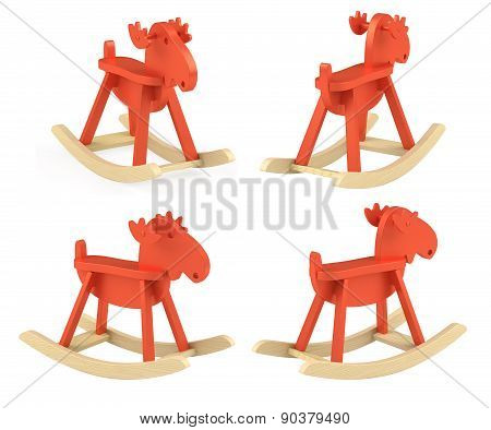 Set Of Different View Of Elk; Rocking Toy