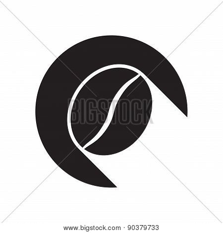 Black Icon With Coffee Bean And Stylized Shadow