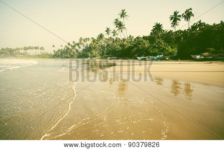 Summertime at Tropical Beach - retro style background