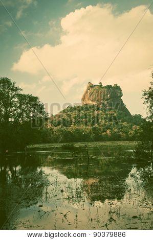 Sigiriya Lion Rock Fortress in Sri Lanka - retro style postcard