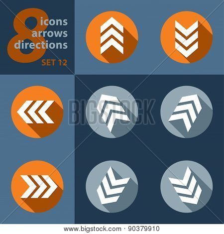 Set Of Eight Icons In All Directions