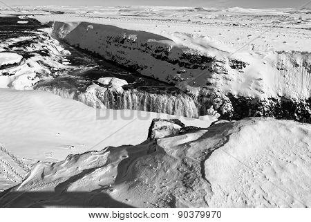 Black & white image, Gullfoss waterfalls during winter, Iceland.
