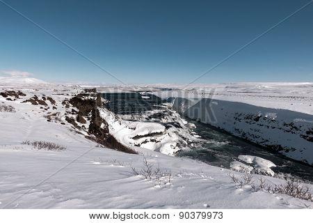 Gullfoss waterfalls during winter, Iceland.