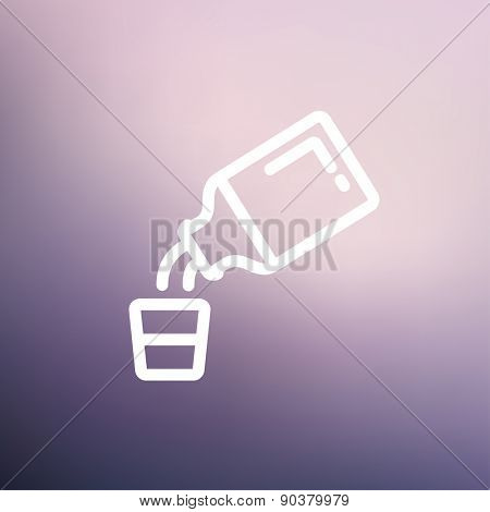 Medicine and measuring cup icon thin line for web and mobile, modern minimalistic flat design. Vector white icon on gradient mesh background.