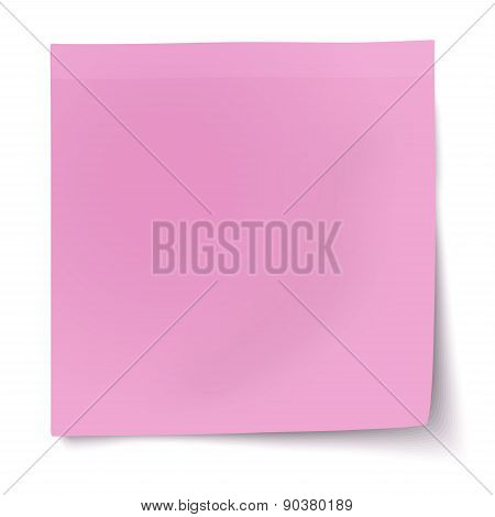 Pink, Rosy Sticky Note With Turned Up Corner Isolated On White Background. Light From The Upper-left