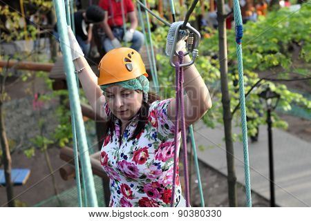 Woman Climber Training