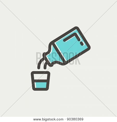 Medicine and measuring cup icon thin line for web and mobile, modern minimalistic flat design. Vector icon with dark grey outline and offset colour on light grey background.