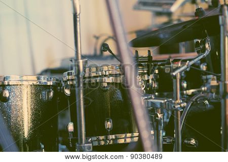 Musical equipement on stage, soft and blur concept