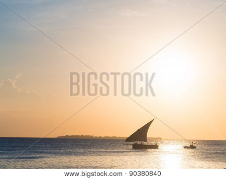 Dhow boat close to Zanzibar
